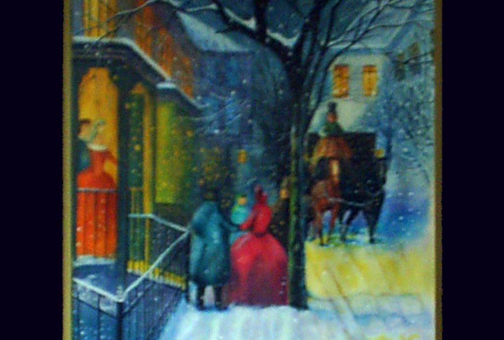 نقاشی منظره – شب برفی