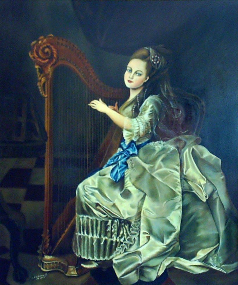 نقاشی فیگور و پرتره - نوازنده - رنگ روغن روی بوم
