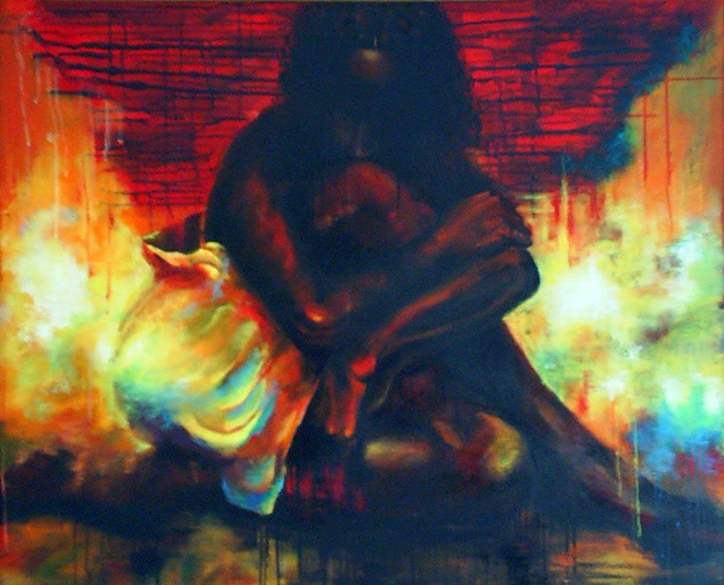 نقاشی فیگور و پرتره- بدون عنوان 1- رنگ روغن و اکرولیک روی بوم