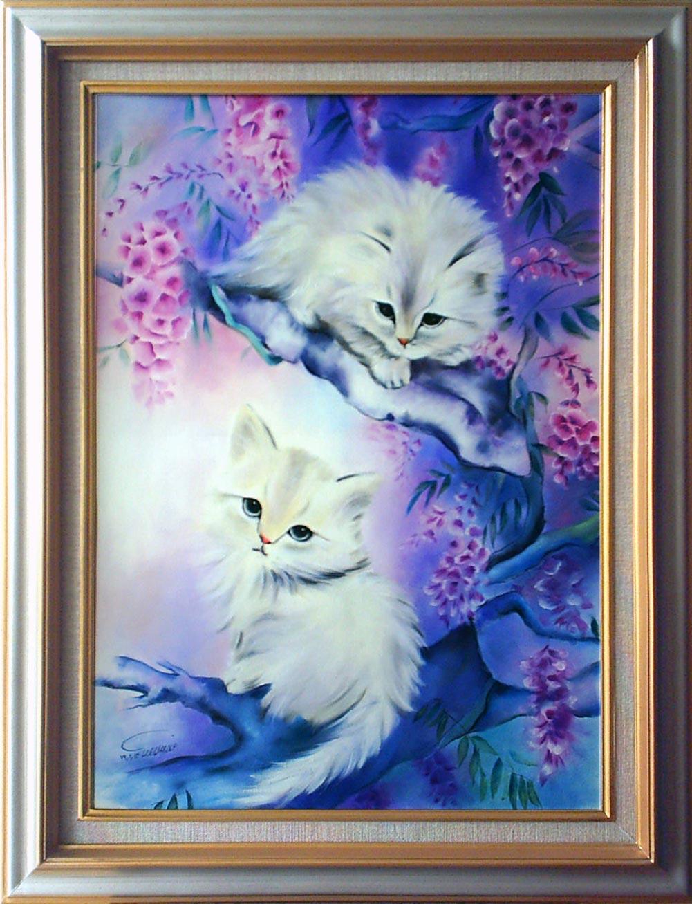 آثار نقاشی رنگ روغن روی بوم - گربه ها