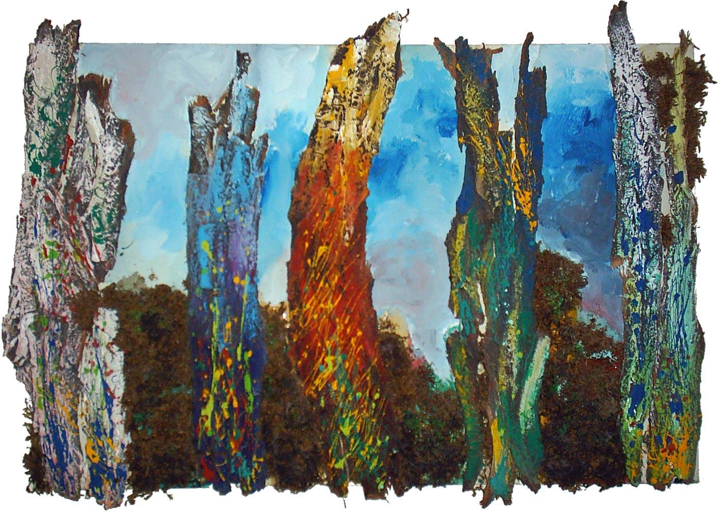 آثار نقاشی رنگ روغن روی بوم - درختان