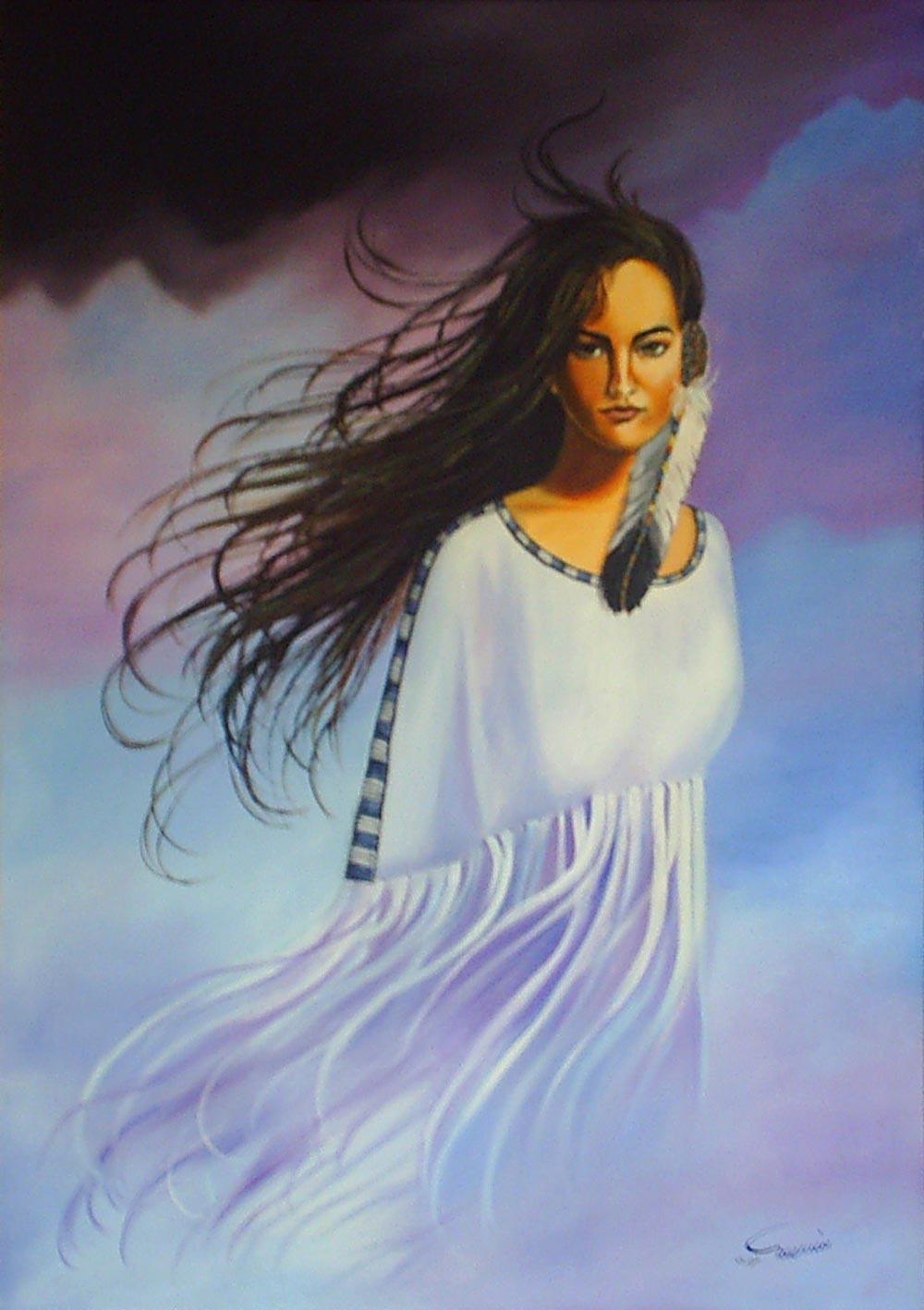 نقاشی فیگور و پرتره- ایستاده در باد - رنگ روغن روی بوم