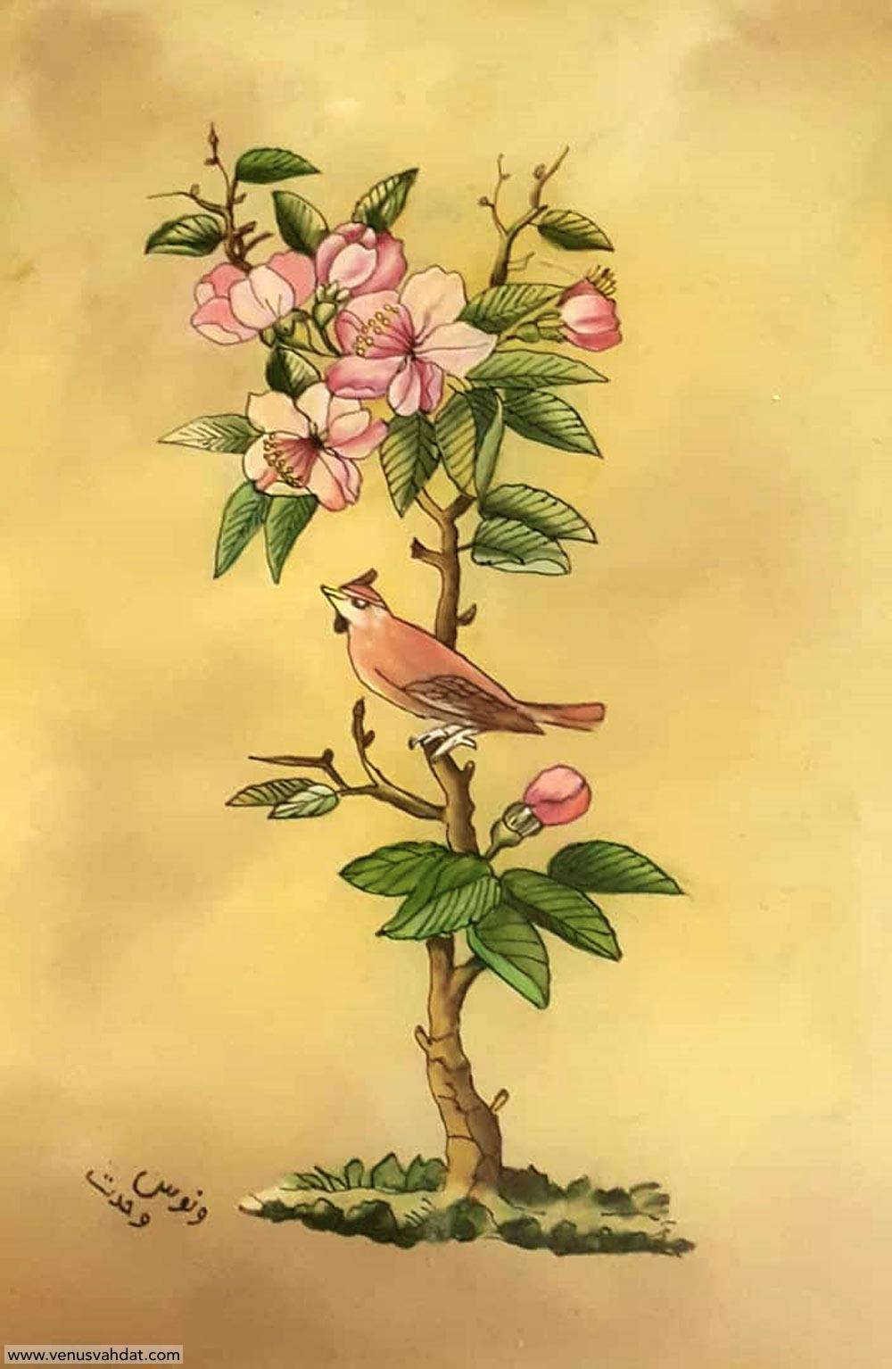 صنایع دستی-نقاشی پشت شیشه-طرح گل و مرغ